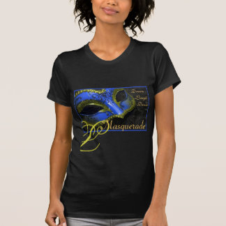 Blue & Lime Masquerade Ladies Halloween T-Shirt