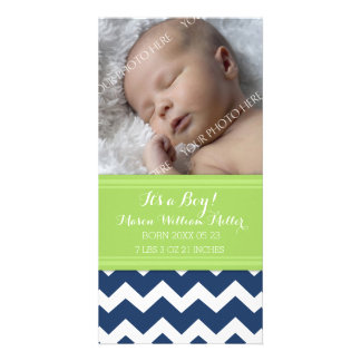 Blue Lime Photo New Baby Birth Announcement