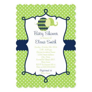 Blue & Lime Polka Dot Elephant Baby Shower 5x7 Paper Invitation Card