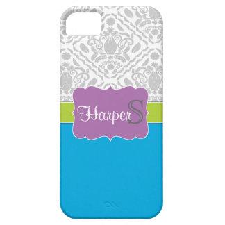 Blue Lime Purple monogrammed damask iPhone 5 case