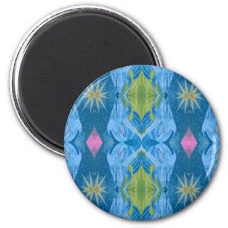 Blue Lime Starburst tribal Pattern Magnet
