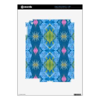 Blue Lime Starburst tribal Pattern Skins For iPad 2