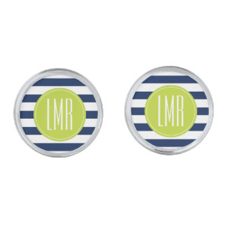 Blue Lime Stripes Pattern Contemporary Monogram Silver Cufflinks