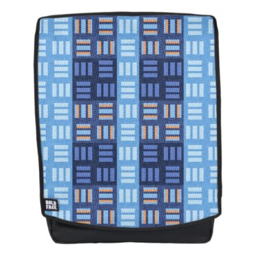 Aztec Themed Blue line blocks on a bold face backpack
