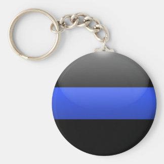 Blue Line fino abotona Llavero Personalizado