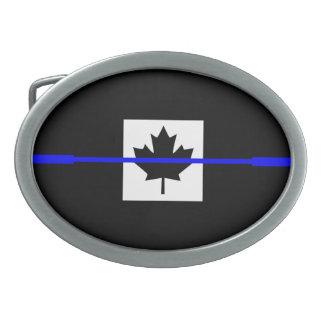 Blue Line fino acentúa en bandera canadiense Hebilla Cinturon Oval
