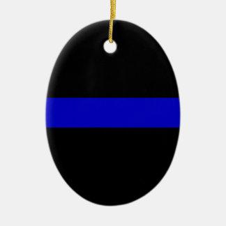 Blue Line fino Adorno Navideño Ovalado De Cerámica