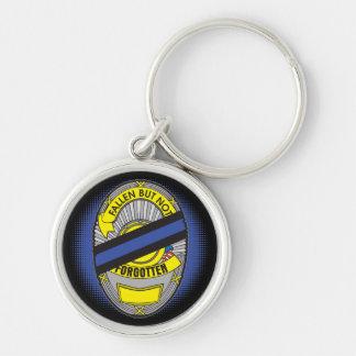 Blue Line fino Badge Llavero Redondo Plateado