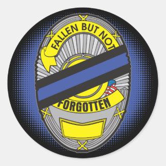 Blue Line fino Badge Pegatina Redonda