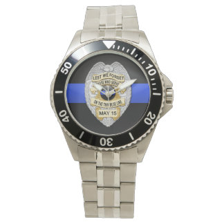 Blue Line fino Badge Reloj De Mano