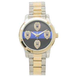 Blue Line fino Badge Relojes De Mano