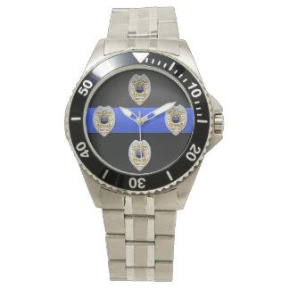 Blue Line fino Badge Relojes De Pulsera