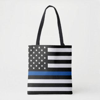 Blue Line fino - bandera americana Bolsa De Tela