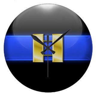 Blue Line fino - barras del capitán de policía del Reloj De Pared