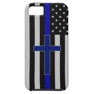 Blue Line fino cruza - la caja azul del iPhone 5 Funda Para iPhone SE/5/5s