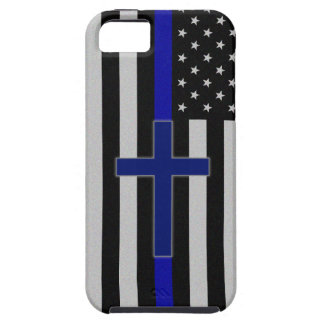 Blue Line fino cruza - la caja azul del iPhone 5 iPhone 5 Funda