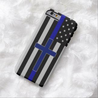 Blue Line fino cruza - la caja cruzada azul del Funda De iPhone 6 Barely There