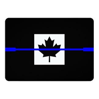 """Blue Line fino en bandera canadiense diseña Invitación 5"""" X 7"""""""