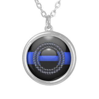 Blue Line fino enmarcado abotona Collar