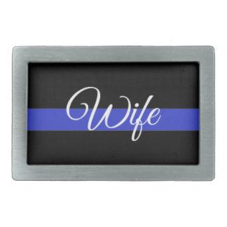 Blue Line fino: Esposa de la policía Hebilla Cinturón Rectangular