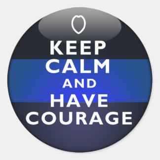 Blue Line fino - guarde la calma y tenga valor Pegatina Redonda