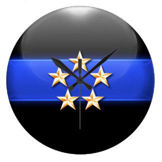 Blue Line fino - insignias de cinco estrellas de l Reloj Redondo Grande