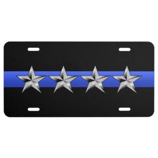 Blue Line fino - insignias de la fila del jefe de  Placa De Matrícula