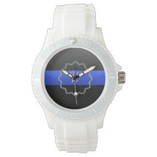 Blue Line fino - monograma o número de la insignia Reloj