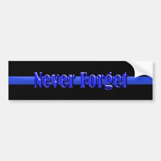 Blue Line fino - nunca olvide Pegatina Para Auto