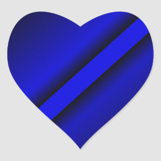 Blue Line fino Pegatina En Forma De Corazón