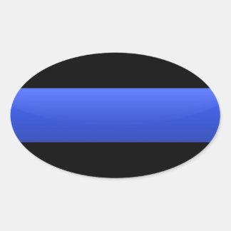 Blue Line fino Pegatina Ovalada
