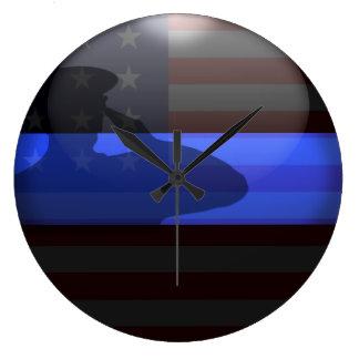 Blue Line fino - saludo de bandera Reloj De Pared