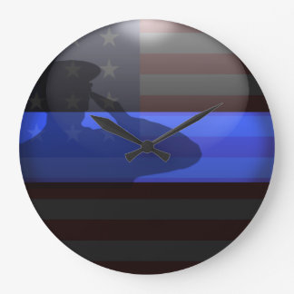 Blue Line fino - saludo de bandera Reloj Redondo Grande