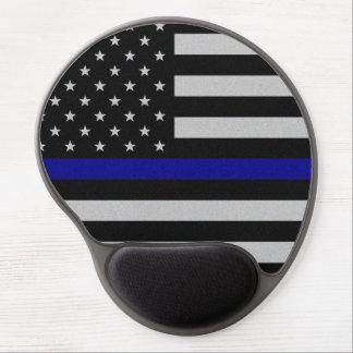 Blue Line fino señala por medio de una bandera Alfombrillas Con Gel