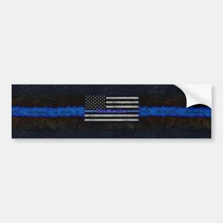 Blue Line fino señala por medio de una bandera Pegatina Para Coche