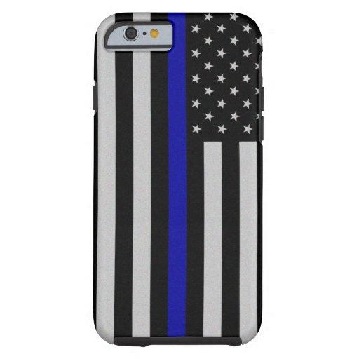 Blue Line fino señala por medio de una bandera Funda De iPhone 6 Tough