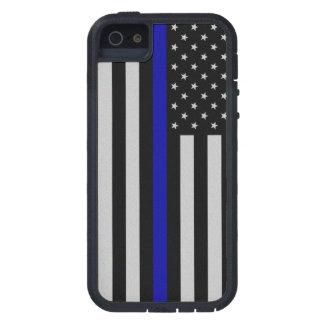 Blue Line fino señala por medio de una bandera iPhone 5 Cárcasa