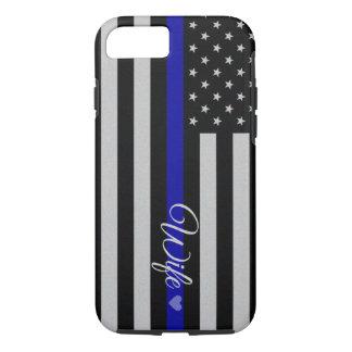 Blue Line fino señala por medio de una bandera Funda iPhone 7