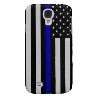 Blue Line fino señala por medio de una bandera Funda Para Galaxy S4