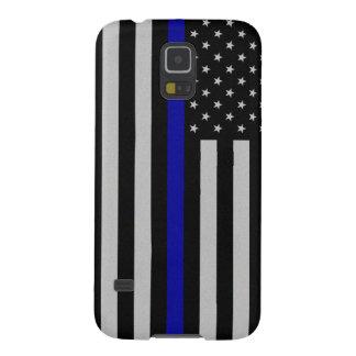 Blue Line fino señala por medio de una bandera Fundas Para Galaxy S5