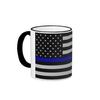 Blue Line fino señala por medio de una bandera Tazas De Café