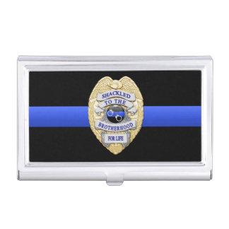 Blue Line fino - Shackled a la insignia de la frat Caja De Tarjetas De Negocios