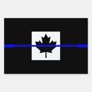 Blue Line fino simbólico en bandera canadiense Cartel