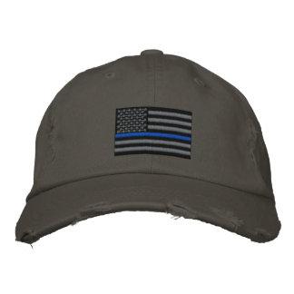 Blue Line fino simbólico en los E.E.U.U. señala Gorra Bordada