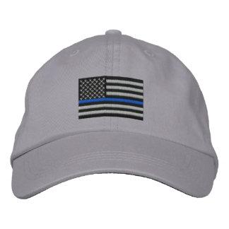 Blue Line fino simbólico en los E.E.U.U. señala Gorras Bordadas