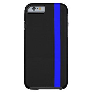 Blue Line fino simbólico en negro Funda Resistente iPhone 6