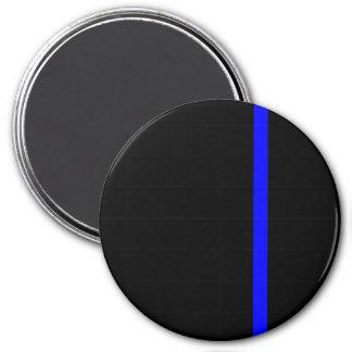 Blue Line fino simbólico en negro Imán Redondo 7 Cm