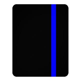 "Blue Line fino simbólico en negro Invitación 4.25"" X 5.5"""