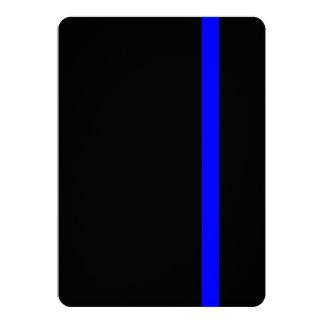 "Blue Line fino simbólico en negro Invitación 5"" X 7"""