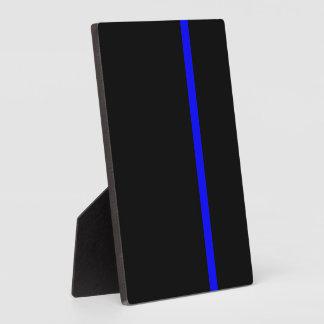 Blue Line fino simbólico en negro Placas Con Fotos